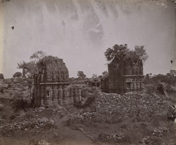 General view of two small Jain temples, Chittaurgarh [Chitorgarh]